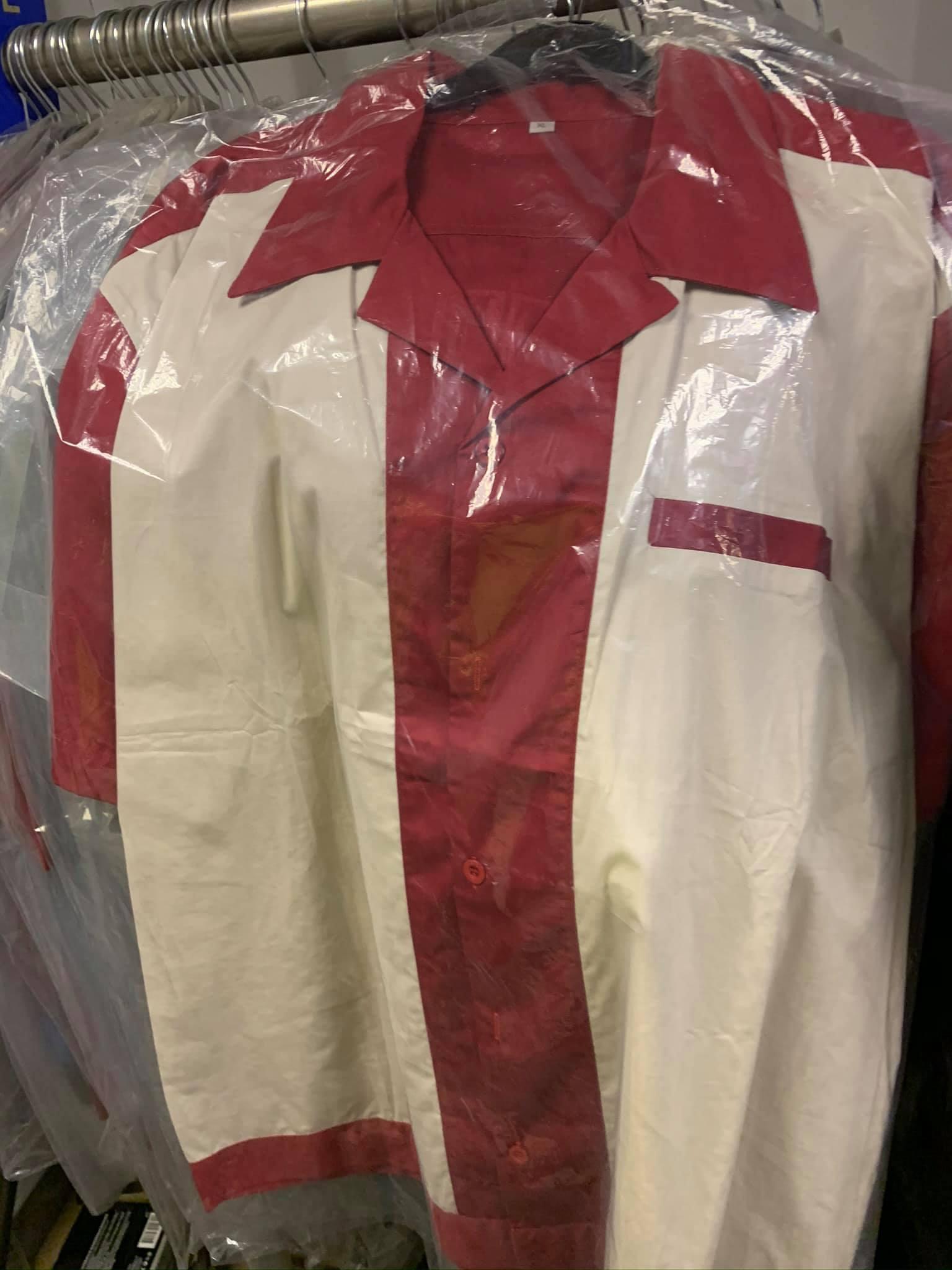 Splinterwood Bowling Shirt - Burgundy wiith white panels ,
