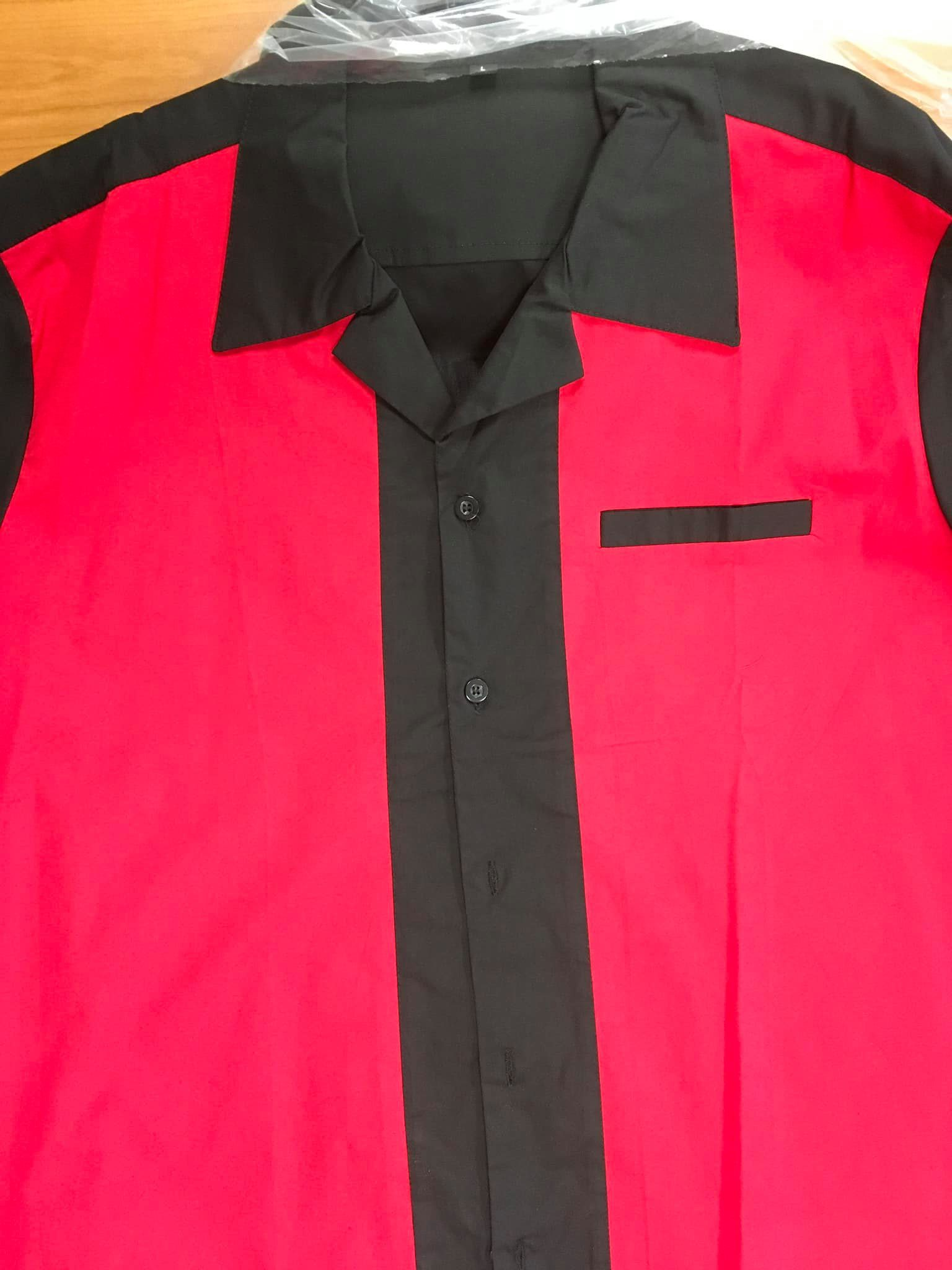 Splinter Bowling Shirt ( Black With Red Panels )