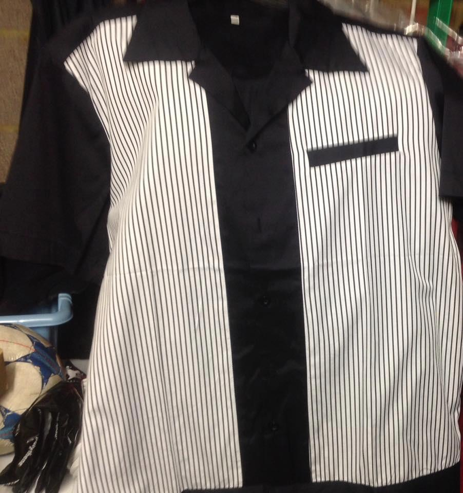 Splinterwood Bowling Shirt - Black with Pinstrip panels